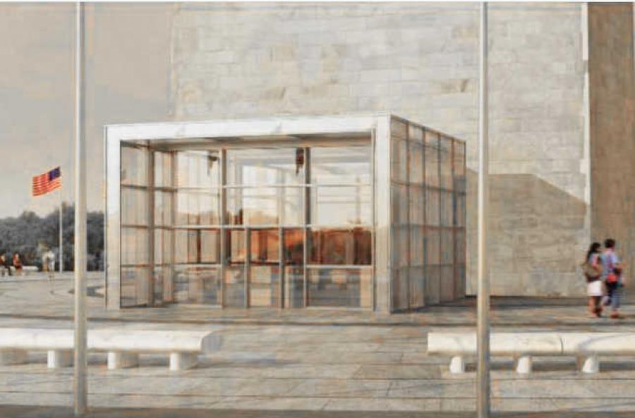 Rendering of the proposed new visitor screening center for the Washington Monument.