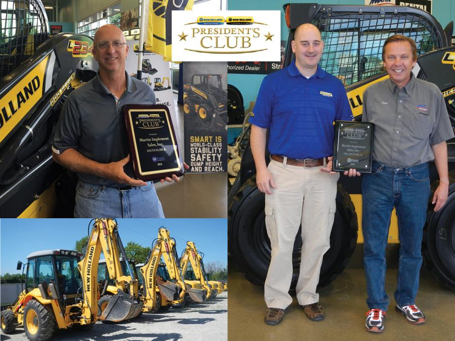 Pictured left to right: Brad Beaulieu, South Elgin branch manager, Martin Implement Sales; James Sherwood, territory business manager, New Holland Corporate of North America; Tom Novak, president, Martin Implement Sales