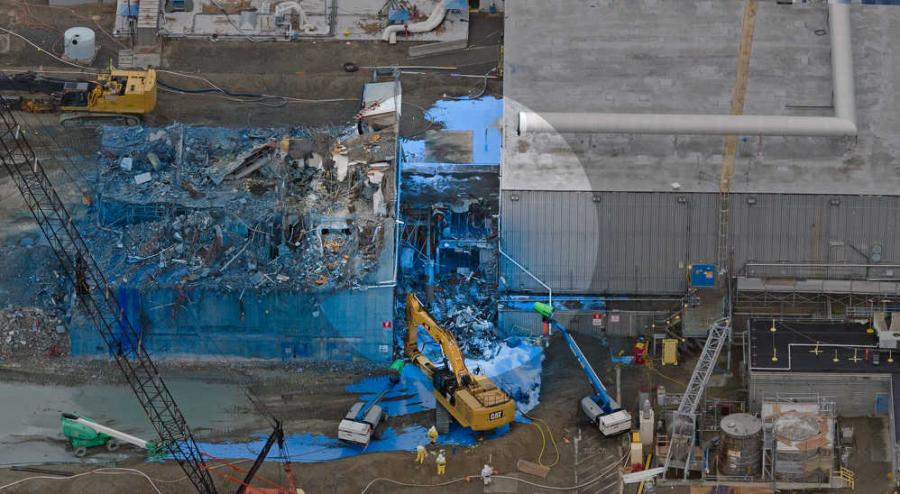 Demolition of the americium recovery facility (located within the shaded circle) proved to be one of the most challenging portions of the PFP project. (Department of Energy Richland Operations Office photo)