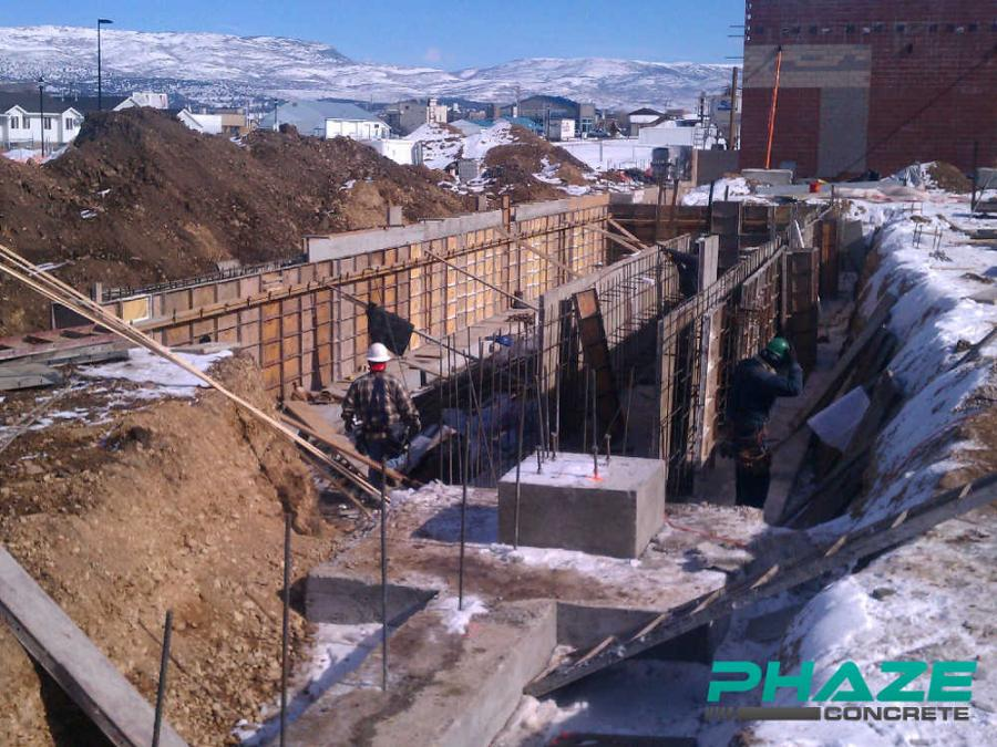 Phaze Concrete prepares to pour concrete at the Wal-Mart Supercenter in Heber City, Utah.