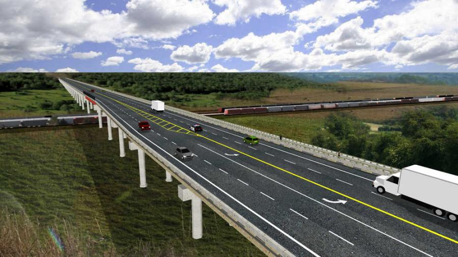 As shown in this computer-generated rendering, the new U.S.-77 Purcell/Lexington bridge will be a modern four-lane structure with a left turn lane at the intersection at Canadian Avenue in Purcell. (Oklahoma DOT photo)