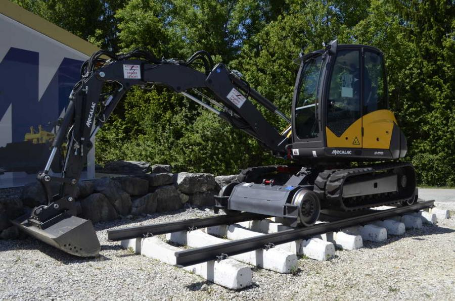 Mecalac's advanced manufacturing capabilities and engineering staff are often called upon to create unique applications for their machines, such as this Mecalac excavator equipped for working on Europe's extensive rail system.