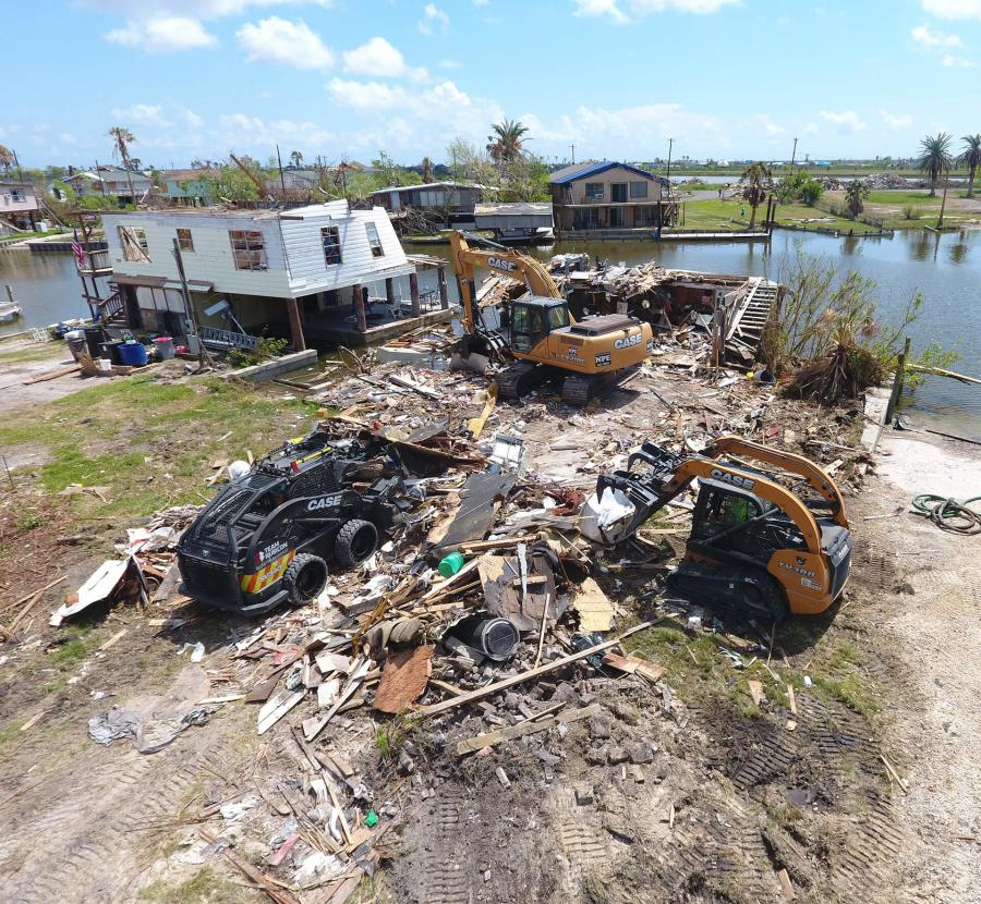 nitial heavy equipment operations included debris removal and home demolition near Rockport and Aransas Pass, Texas, where the eye of Hurricane Harvey made landfall in August. (Photo Credit: Case Construction Equipment and Matt Mateiescu, Team Rubicon)