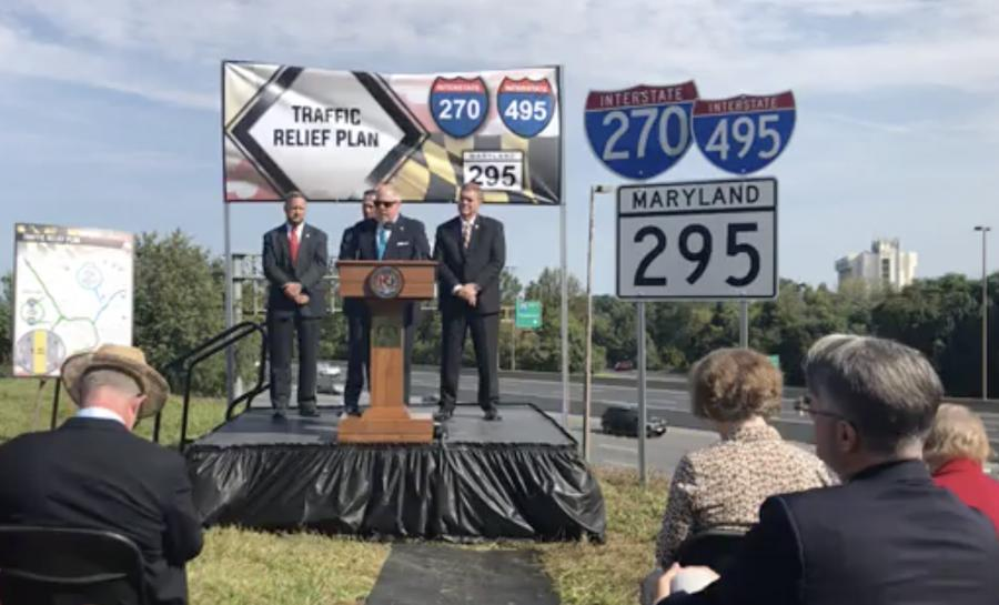 Maryland Gov. Larry Hogan announced on Sept. 21 the administration's plans to add four new lanes to I-270, the Capital Beltway (I-495) and the Baltimore-Washington Parkway (MD 295). (MDOT photo)