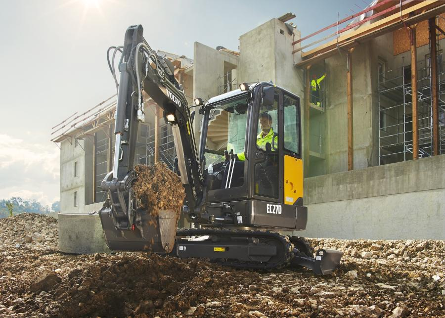The 2.7 ton (2.5 t) EC27D compact excavator from Volvo Construction Equipment is built to perform and boost profitability across a variety of applications, according to the manufacturer.