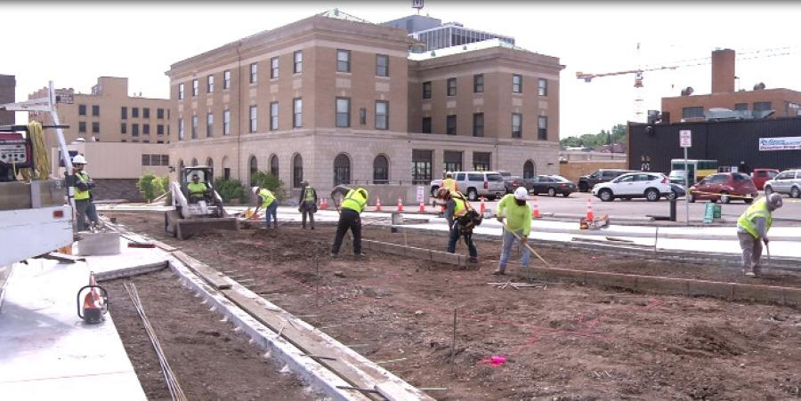 The $30 million Downtown Minot Infrastructure Project replaced miles of streets, curbs,gutters, sidewalks and street lighting as well as water, sanitary sewer and storm sewer pipes.