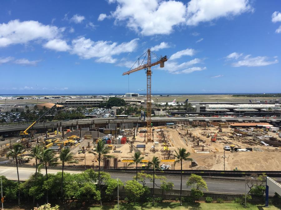 Construction work continues on several major projects throughout the terminal of the newly-named Daniel K. Inouye International Airport.