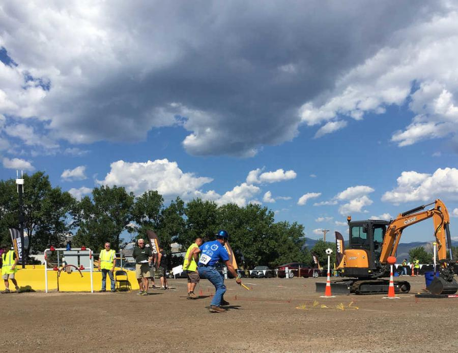 The final relay is a sequence of six events: a truck and trailer back up, an egg pickup with a backhoe bucket, pipe squeeze, a mini-excavator event, regulator bypass and water cooler. The team with the best overall relay time wins.