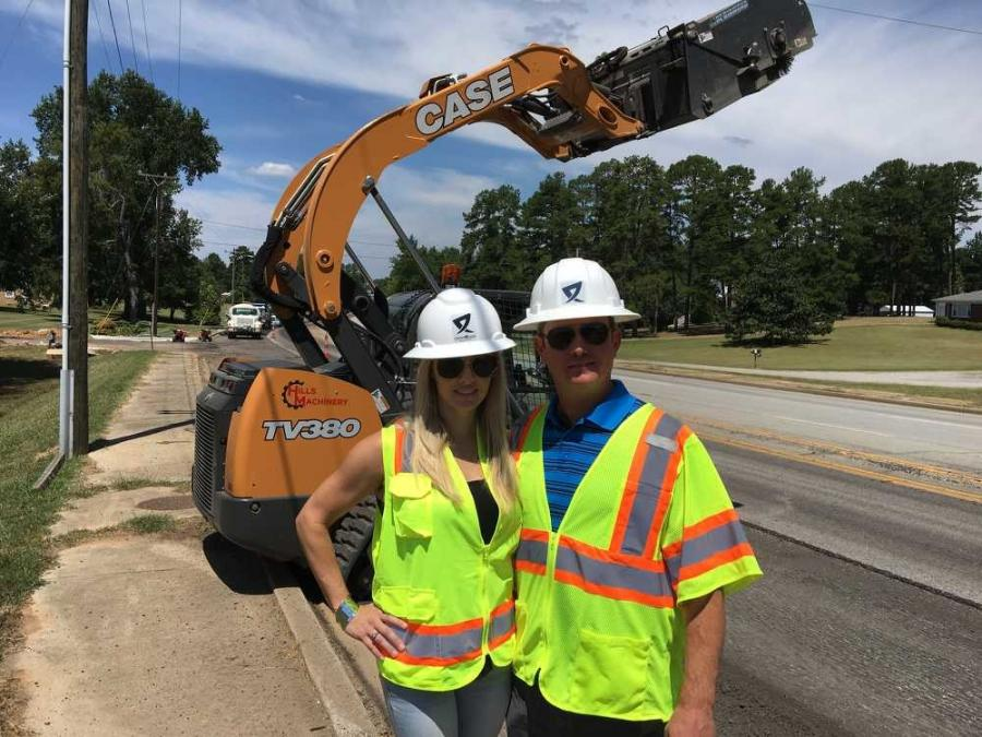 Katherine, president, and Dallas Reeves, general manager of Crossroads Construction Services, check on the Flat Creek Road project in Lancaster, S.C.