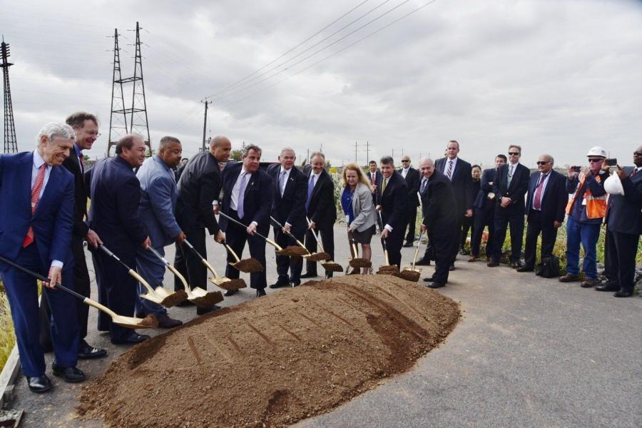 Officials, including Republican Gov. Chris Christie, attended the ceremony near the Portal Bridge over the Hackensack River.