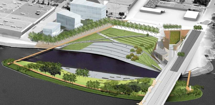 A rendering of the plans for Minneapolis' Hall's Island. 