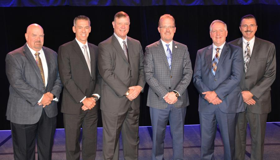 2018 AEM Officers (L-R): CE Chair Jeff Reed, Reed International/VSS Macropaver; Treasurer Todd Stucke, Kubota Tractor Corp.; Vice Chair Jim Walker, CNH Industrial; Chair Rich Goldsbury, Doosan Bobcat; AG Chair John Lagemann, Deere & Co.; Secretary Dennis Slater, AEM.