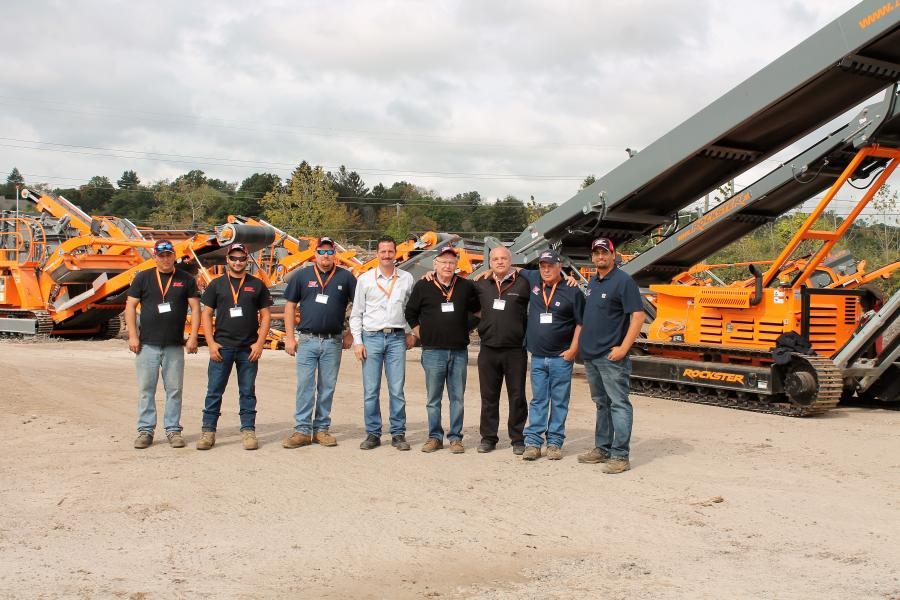 (L-R): Ray LaCasse, operator; Zach Russenberger, operator; Dan Tucker, product support; Daniel Civinski, Rockster representative of the United States; Skip Tucker, owner of Equip Sales & Leasing; Wolfgang Kormann, CEO of Rockster North America; and Dan Troiano, sales representative, and Joe Collazo, sales manager, both of Equip Sales & Leasing Corp.