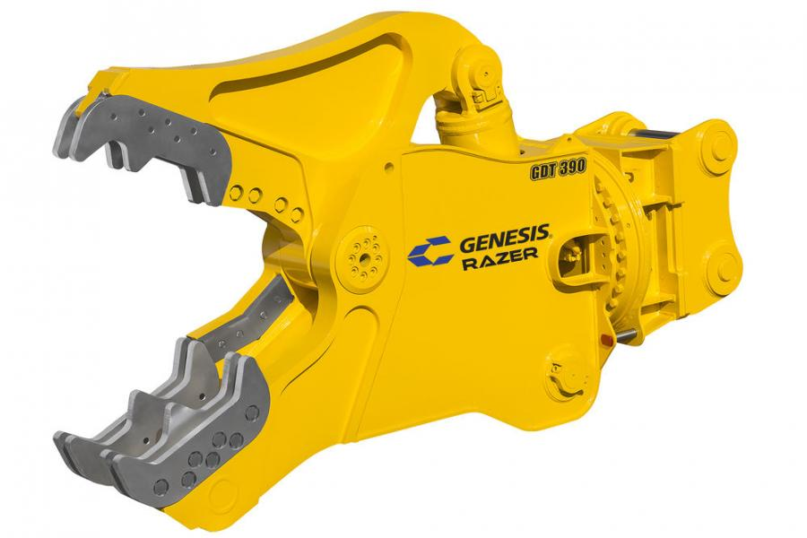 The GDT 390 features a 46-in. (116.8 cm) jaw opening and 45-in. (114.3 cm) jaw depth for processing thick concrete and rebar.