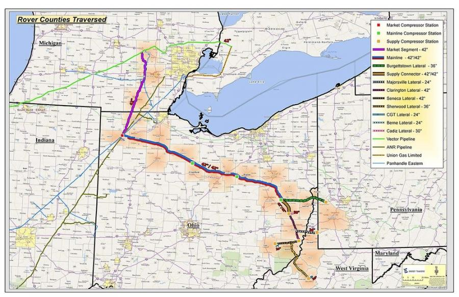 The Rover Pipeline route spans approximately 713-mi.