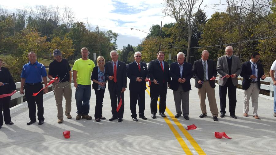State, federal, and local leaders officially cut the ribbon on the 200th bridge completed under the Ohio Bridge Partnership Program.