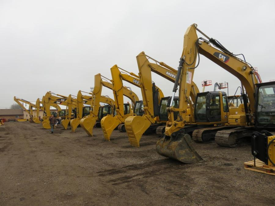 The auction featured a number of excavators.