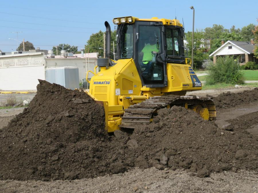 Customers operate this Komatsu D51 PXi dozer equipped with intelligent machine control.