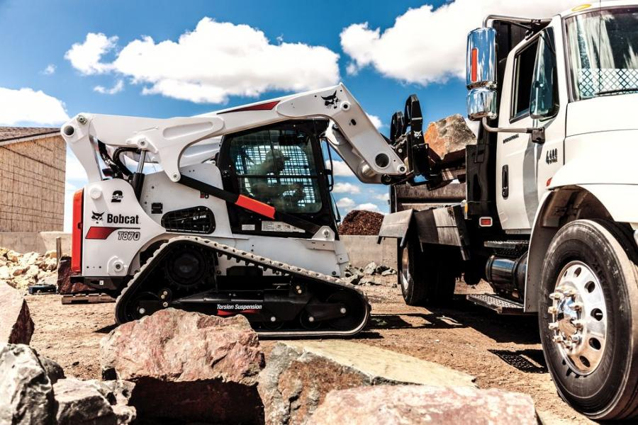 Bobcat's new pallet fork frame is approved for use with all Bobcat skid-steer and compact track loaders, Toolcat utility work machines and the V519 VersaHANDLER telescopic tool carrier.