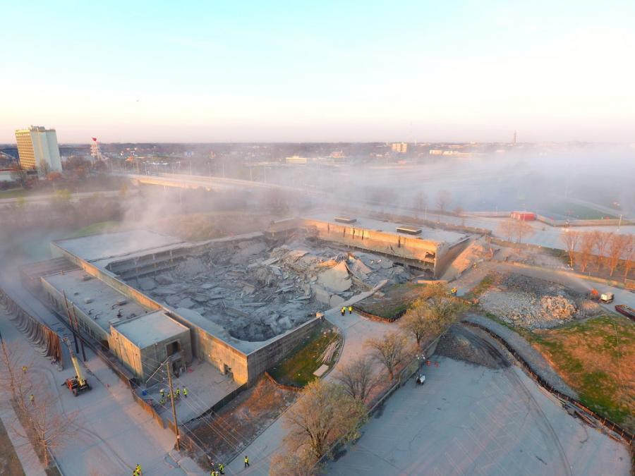 The demolition of the Georgia Archives Building was a complex undertaking that included abatement and temporary tie-backs to support the existing basement foundation walls and culminated with an implosion on March 5.