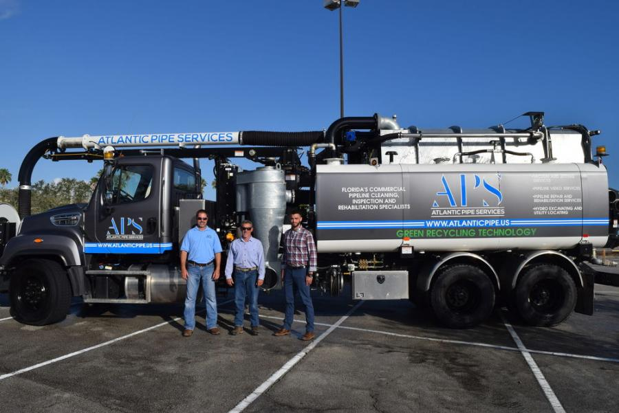 (L-R) are Allan Cagle, president of Atlantic Pipe Services; Tommy Marks, vice president of sales of Great Southern Equipment, Orlando, Fla.; and Jared Wilson, environmental sales representative, Great Southern Equipment.