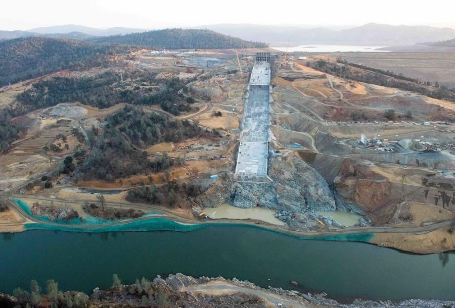 Crews met the Nov. 1 deadline for the massive repair of the Oroville Dam's main spillway. This is part of a $500 million project to stabilize the main and emergency spillways, so the main dam won't be threatened as it was during a string of drenching storms last winter. (California Department of Water Resources photo)