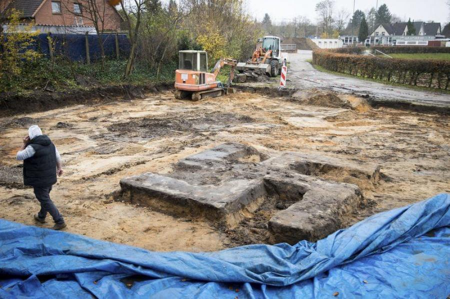 A giant Swastika-shaped foundation sits on a construction site in Hamburg, Germany after it was discovered during construction work on a sports field. The foundation was the base of a statue during Nazi times and remained undiscovered for more than 70 years. (Photo Credit: Christian Charisius/dpa via AP)