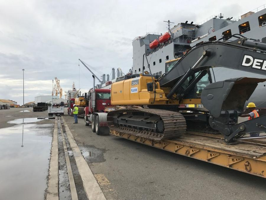 Heavy equipment is offloaded from the USNS Brittin in Puerto Rico to help with ongoing power restoration efforts (Photo Credit: Business Wire)