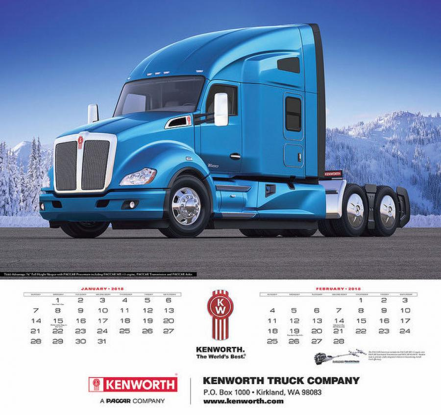The 2018 Kenworth Calendar features beautiful images of The World's Best® aerodynamic, vocational, traditional and medium duty trucks in both scenic and work settings. The new calendar is now available for purchase.