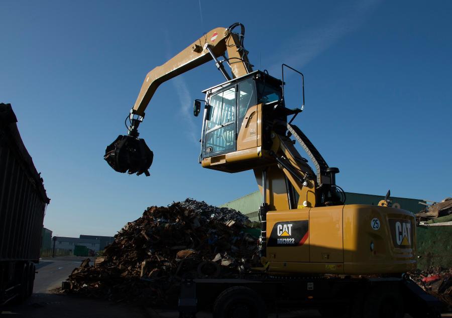 The Caterpillar MH3022 wheel material handler.