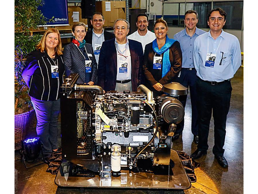 Curitiba facility leaders pose with the 250,000th engine produced at the facility at an event recognizing the milestone.