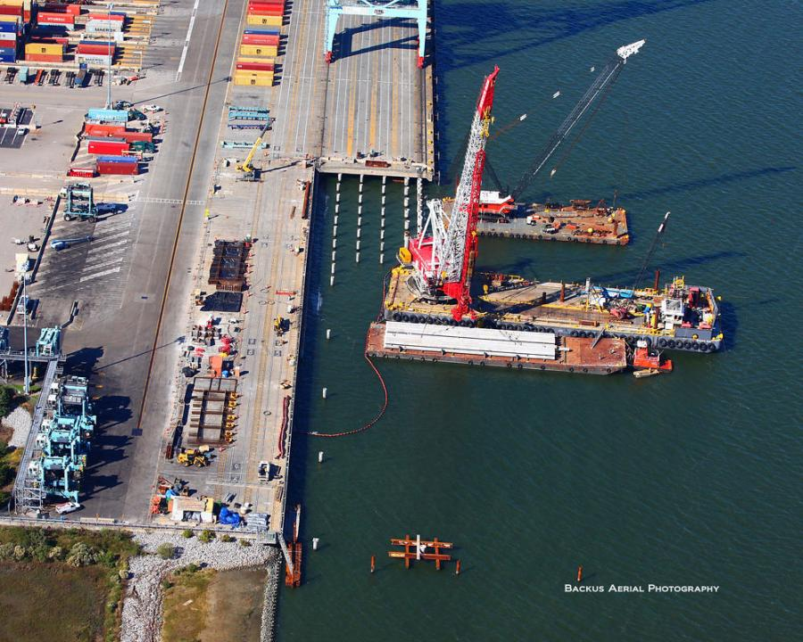 The Port of Virginia is making a bold statement to nearly double the size of its already massive marine container facility in Portsmouth. (Backus Aerial Photography photo)
