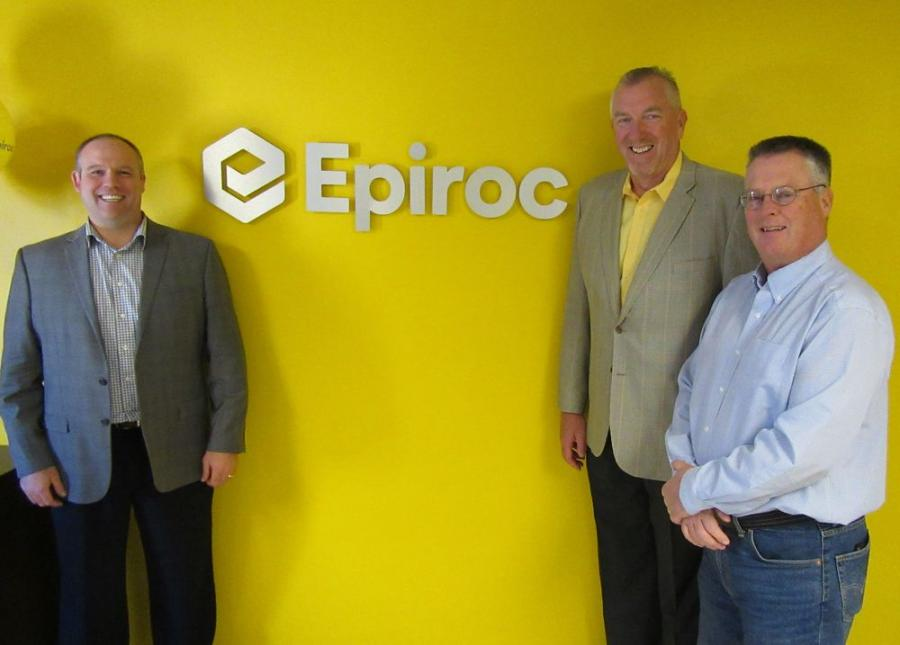 Epiroc Hydraulic Attachments Sales Team, Matt Cadnum, Michael Meehan, and Scott Hendricks celebrate the launch of Epiroc at the company's Independence, Ohio facility