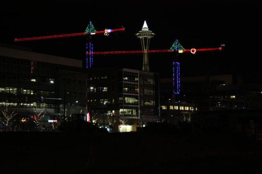 """There's a lot of cranes in Seattle,"" said Joe Sadler of Exxel Pacific. ""And this time of the year, just about every one gets lit up."""