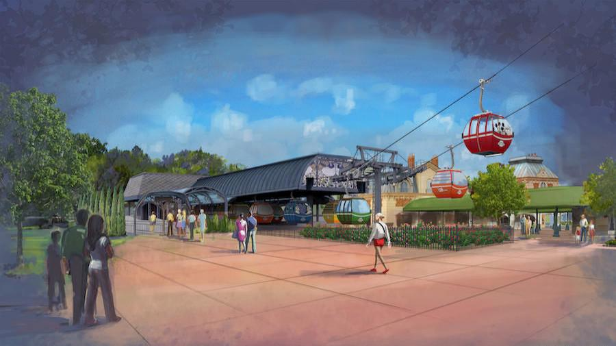 A rendering of the Disney Skyliner gondola system.