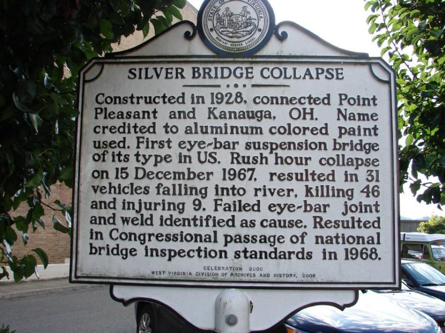 The Silver Bridge was built in 1928 over the Ohio River to connect Point Pleasant, W.Va. with Gallipolis, Ohio. In 1967, the bridge collapsed after an eyebar in a suspension chain failed, killing 46 people.