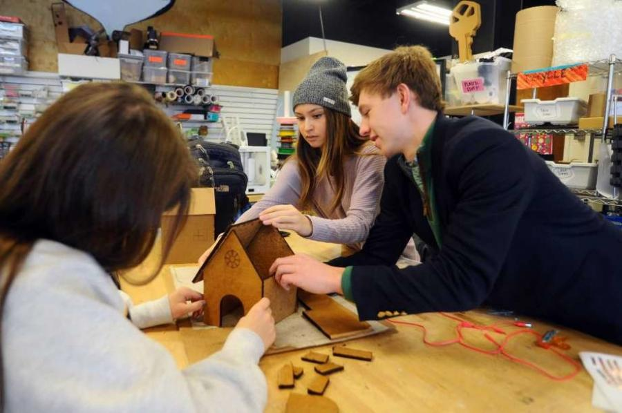 Students in the school's Engineering and Design Lab carefully planned their designs, first with sketches, and then with cardboard prototypes before going to work on the gingerbread itself, Greenwich Time reported.
