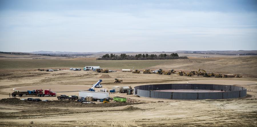 The Dakota Access pipeline under construction in 2016.
