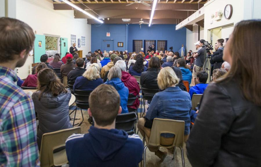 More than 100 people gathered at Our Lady of the Road in South Bend Nov. 30 to show solidarity against construction of the detention center. (Tribune/Robert Franklin photo)