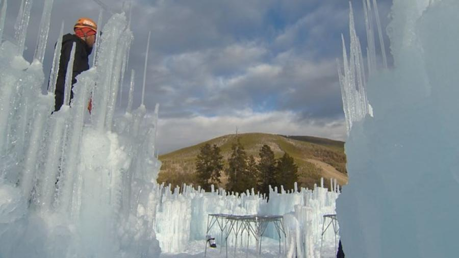 Water runs through the pipes overnight, which freezes around the icicles, raising the castle higher and higher.