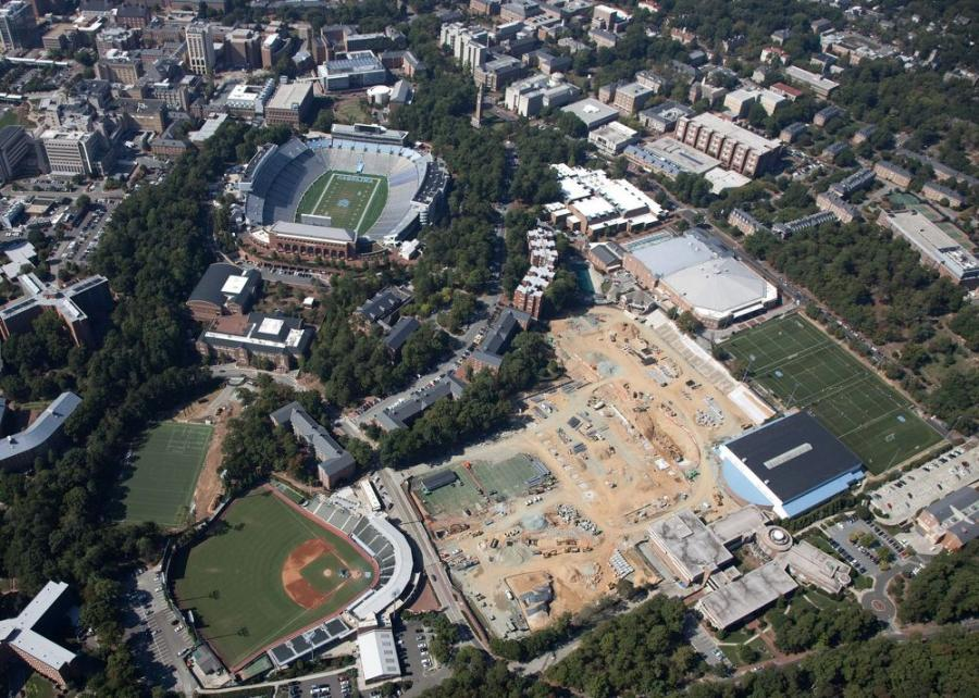 An aerial view of UNC's athletics construction project.