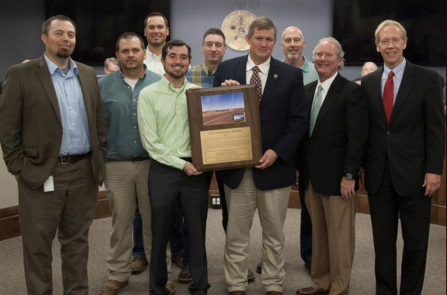ODOT's Duncan Residency and Overland Corporation of Ardmore were honored by the Association of Oklahoma General Contractors with the Pharaoh Award.(L-R) are Cole Vonfeldt, ODOT Division Seven construction engineer; Jeramy Lassle, ODOT Duncan Residency; Eric Hegge, Overland Corporation; Colton Roberts, Duncan Residency manager; Justin Zimmerman, Duncan Residency; Jay Earp, ODOT Division Seven engineer; Mike Voorhes, Overland Corporation;Bradley Burgess, District Seven transportation commissioner.