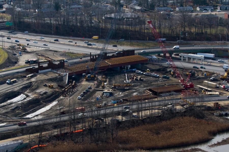 Crews build the new ramp (bridge 8) from I-76 EB to I-295 NB.