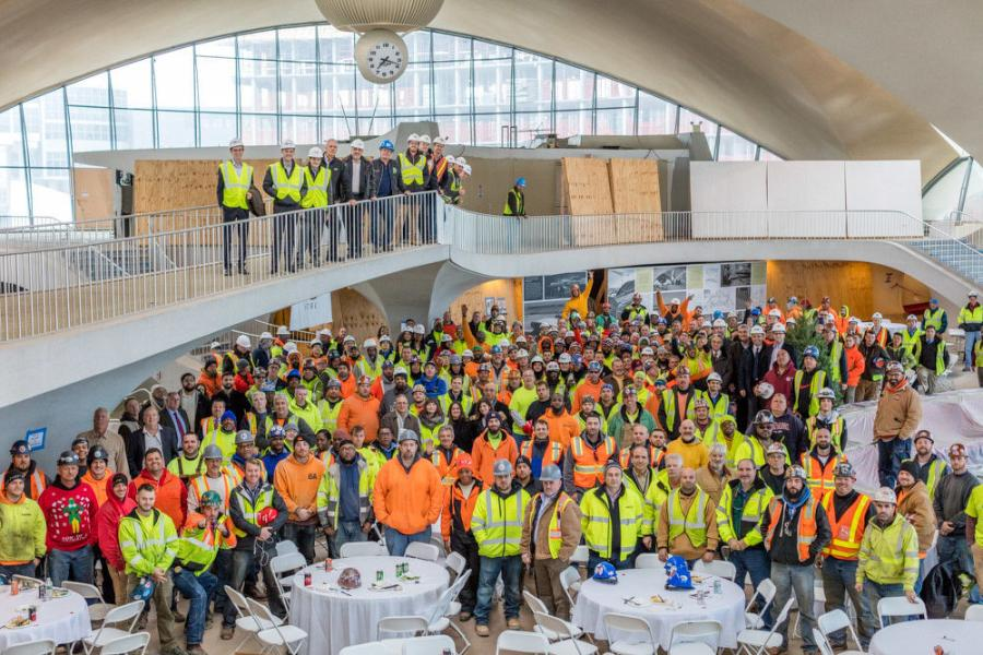 TWA Hotel construction workers and partners at the TWA Hotel Topping Out ceremony.