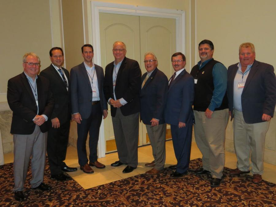 The 2018 and 2017 IED board of directors (L-R) are Tom Smith, past president; Kevin Ridens, vice president; Jim McCann, first year director; Steve Roggeman, executive secretary; Tom Stern, second year director; Bob Jones, 2018 IED president; Joe Stack, treasurer; and Joe McKeon, associate director.