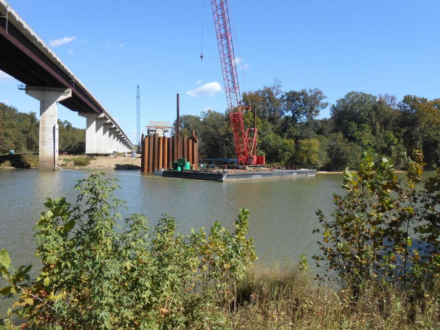 Work on a more than $29 million bridge has inched beyond the halfway point in Arkansas, on U.S. 167 near Calion. (ARDOT photo)