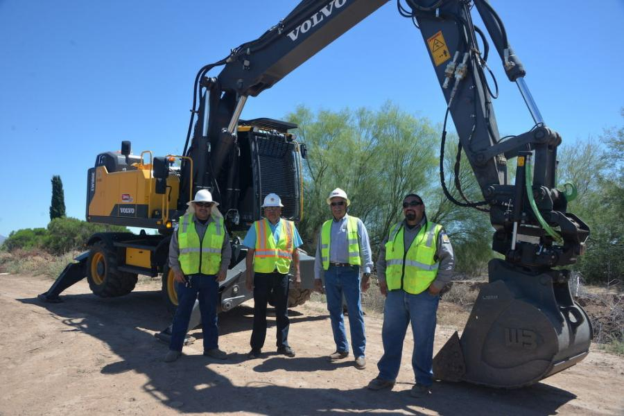 (L-R) are Benito Valencia, irrigation maintenance department operator, SRPMIC; Dean Emerson, irrigation operations manager, SRPMIC; Mike Douglas, Arnold Equipment; and Ramon Montiel, irrigation maintenance supervisor, SRPMIC.