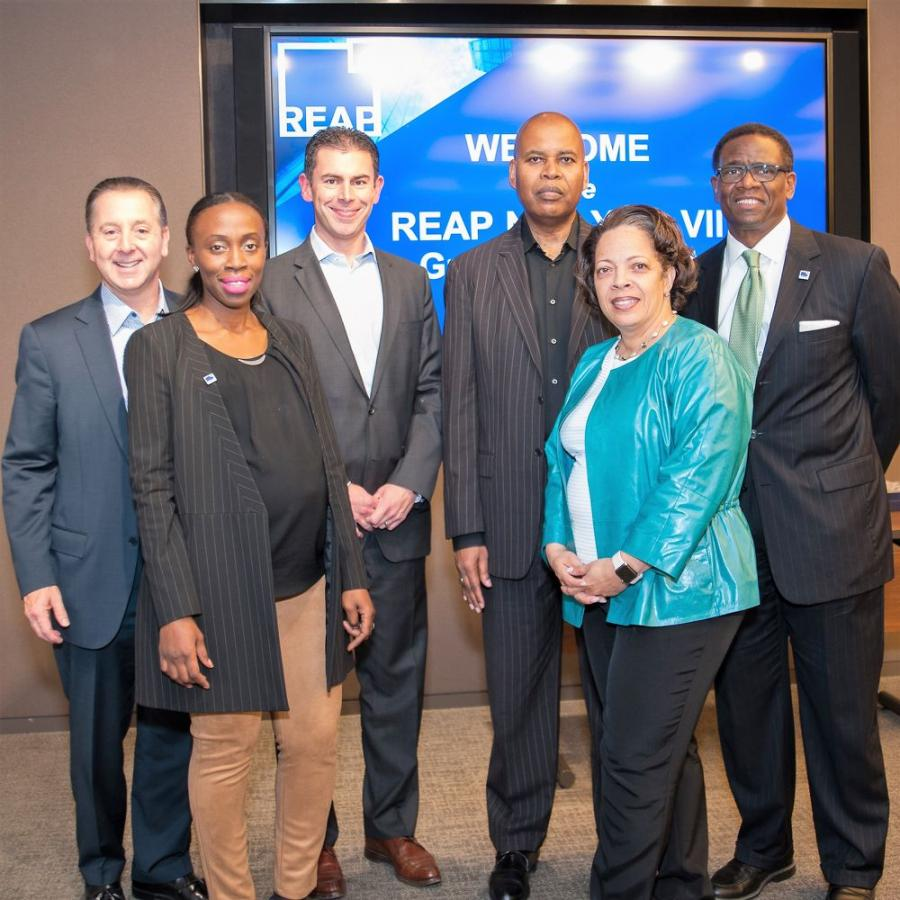 (L-R) Speakers at REAP NYC 2017 graduation: David Arena, JPMC; Osa Bartholomew, REAP; John McGinley, JPMC; G. Lamont Blackstone, G.L. Blackstone & Associates LLC; Valerie Rainford, JPMC; Ken McIntyre, REAP (Photo Credit: Carlos Escobar)
