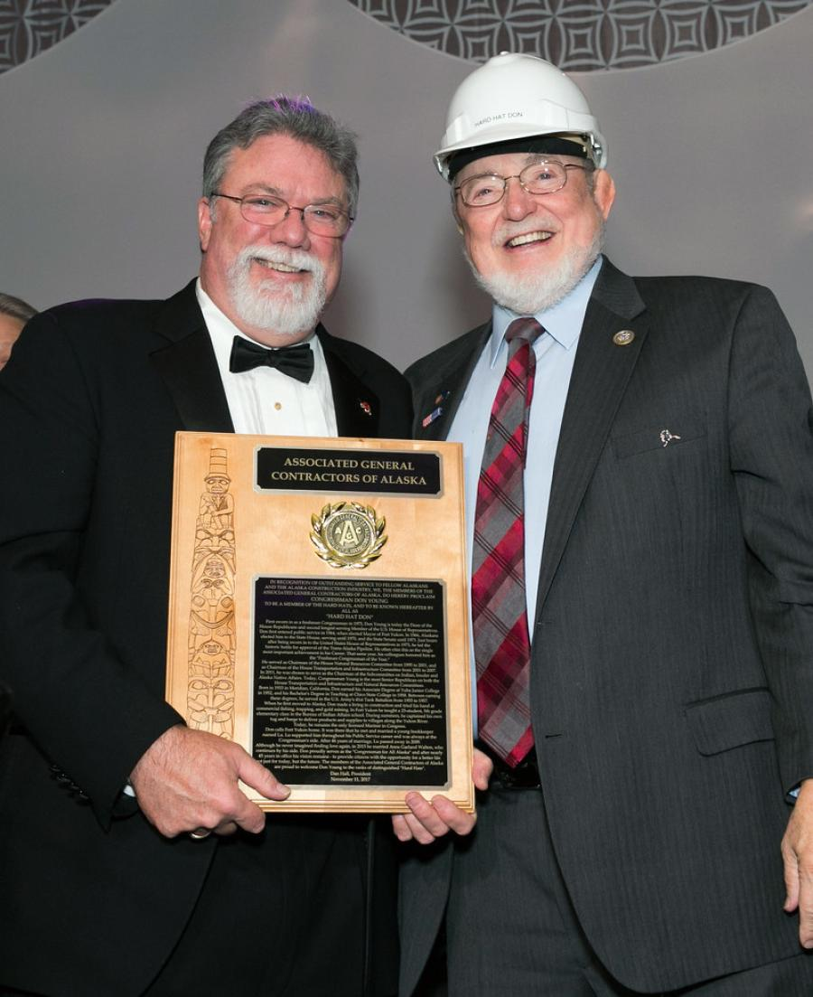 Congressman Don Young receives the Associated General Contractors of Alaska 2017 Hard Hat award.