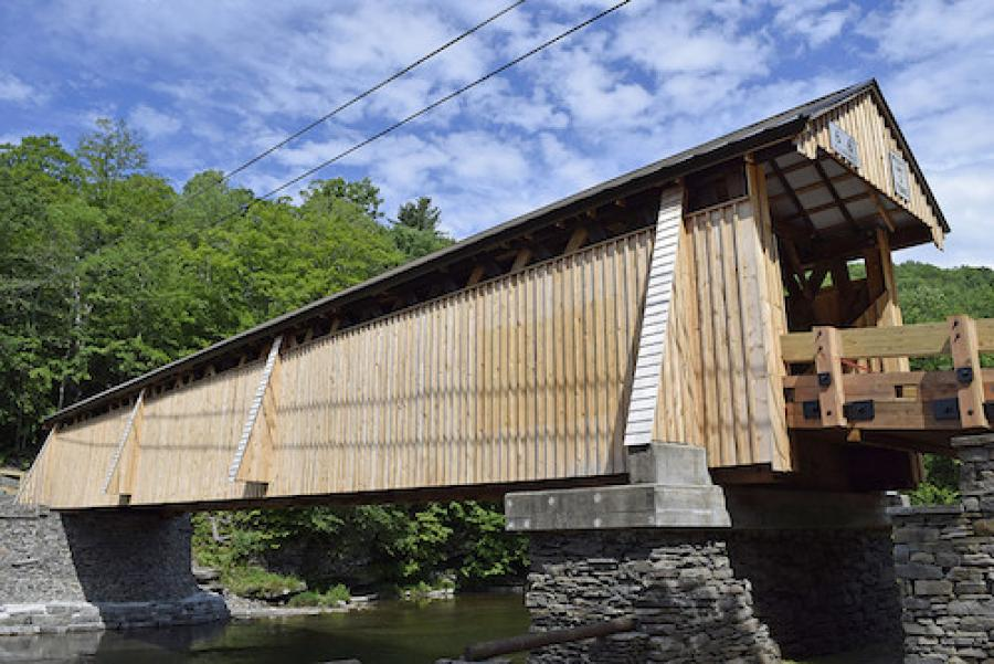 Slated to be recognized with a platinum award in the structural systems category, the Beaverkill Covered Timber Bridge is located in an area of the Catskills revered by outdoor enthusiasts. Built in 1865 and widely regarded as a symbol of Sullivan County's bucolic charm, the original one-lane timber bridge was deteriorating due to age, insect damage and wood rot.